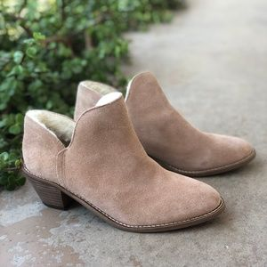 Kelsi Dagger KDB Blush Suede Ankle Booties Boots